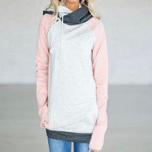 Tops - Double Hood Color Block Sweatshirt